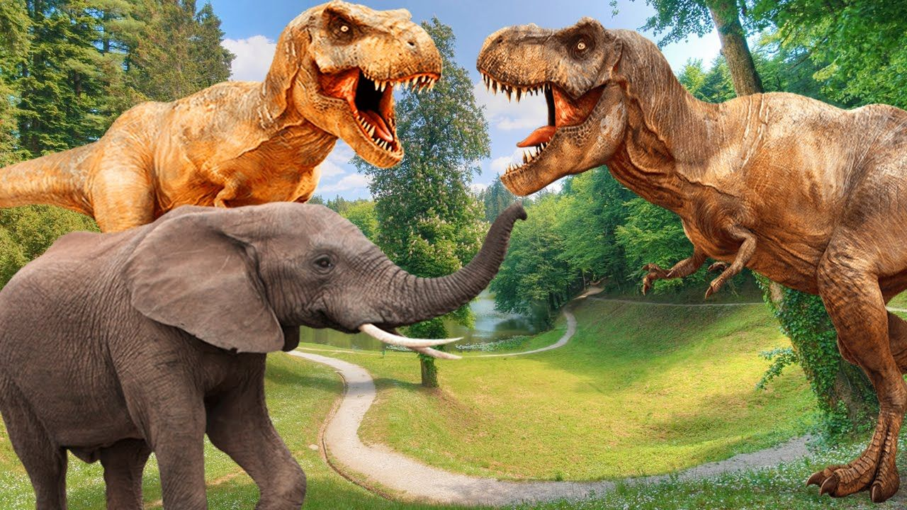 dinosaurs fighting gorilla bear elephant dinosaur tiger lion