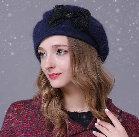 f4f512e42125b Winter warm rabbit fur knit hat for women bow beret hats outdoors wear