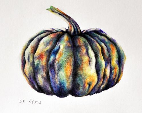 Pumpkin Original Colored Pencil Drawing Halloween