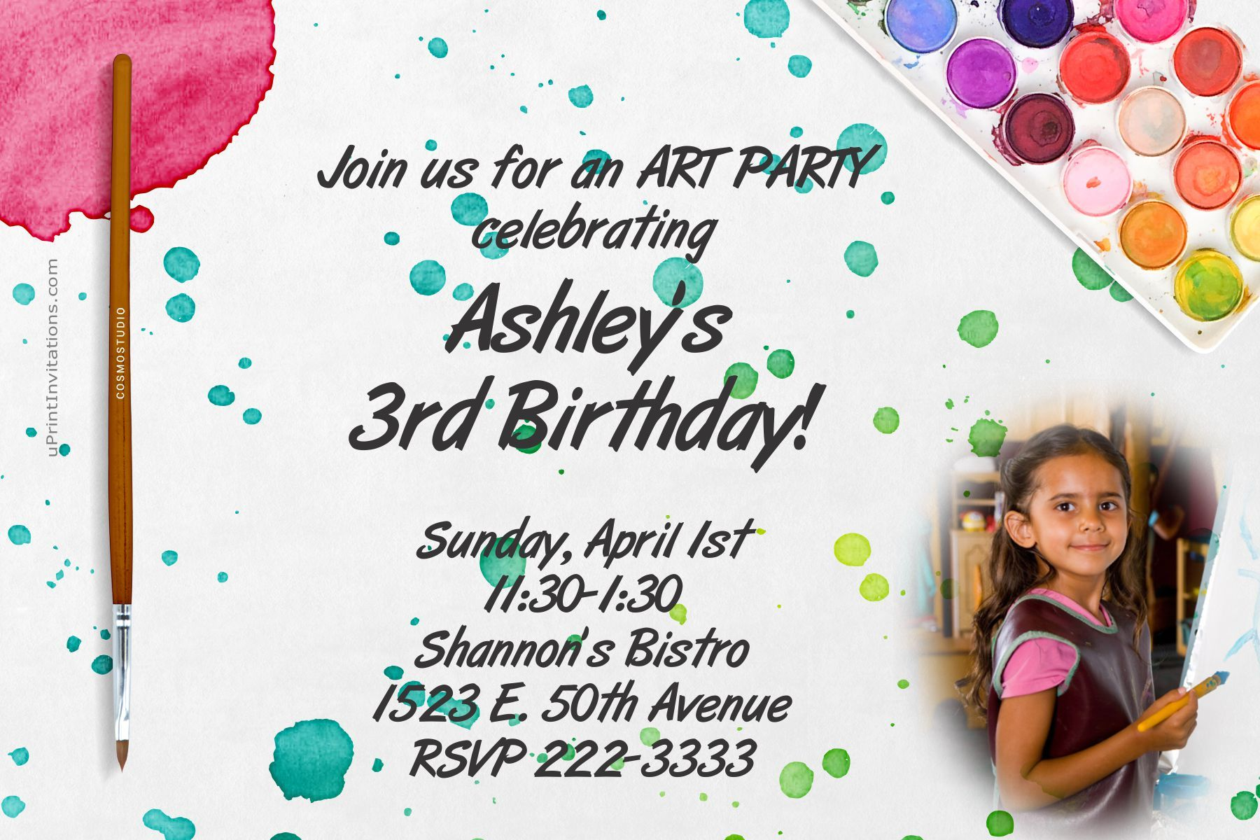Water colors painting party birthday invitations- Any Wording ...