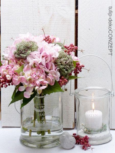 Kunstblumen  -pflanzen - Deko-Blumenstrauß *Hortensie* - ein
