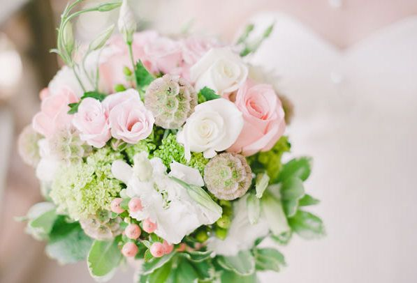 pink roses, hypericum and scabiosa