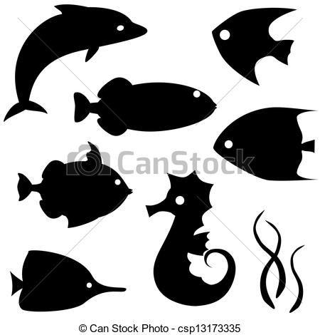 Vector - pez, Siluetas, vector, Conjunto, 2 - stock de ilustracion, ilustracion libre de, stock de iconos de clip art, logo, arte lineal, retrato de EPS, Retratos, gráficos, dibujos gráficos, dibujos, imágenes vectoriales, trabajo artístico, Arte Vectorial en EPS