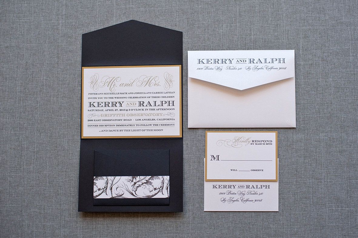 Gatsby inspired black and gold formal pocket wedding invitation gatsby inspired black and gold formal pocket wedding invitation kerry and ralph monicamarmolfo Image collections