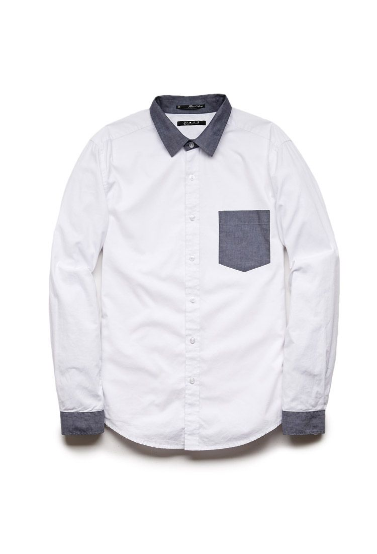 Contrast Collared Shirt #21Men