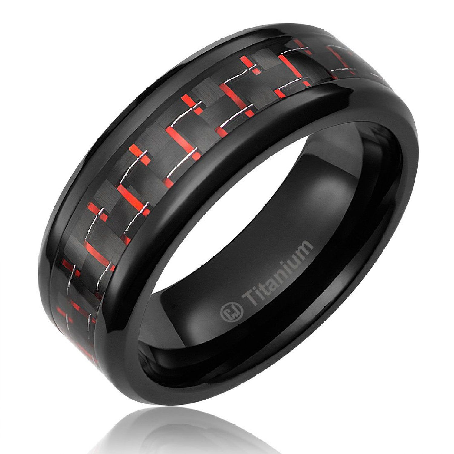 8MM Men's Titanium Ring Wedding Band Black Plated with