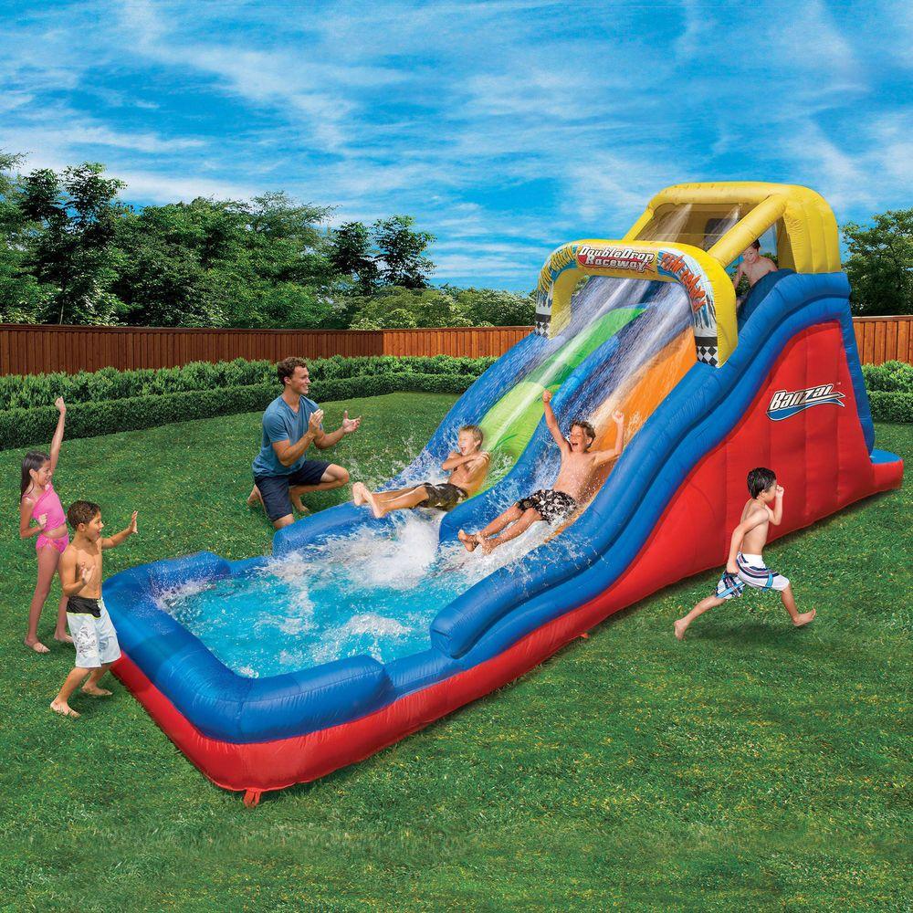 Inflatable Water Slides Double Drop Raceway Splash Pool