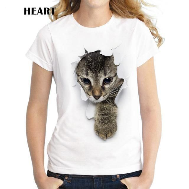 Funny Lovely Printed T-Shirts,Crew Neck T-Shirt of Girls,Polyester,Fitness Cat L