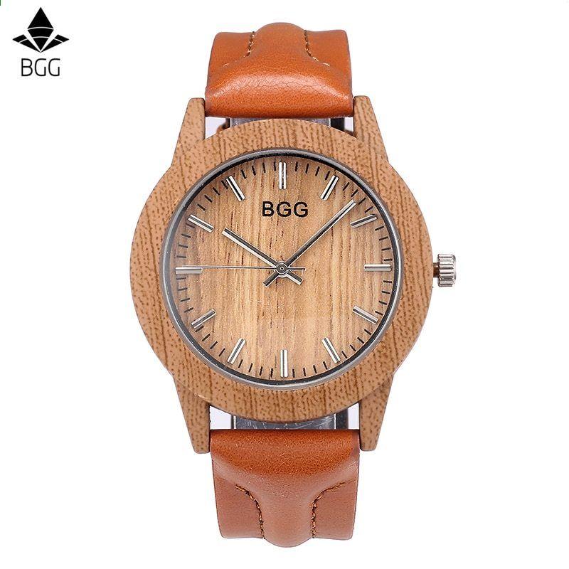 2666cca55c7 BGG Mulheres Moda Simulação De Madeira Cor Relógios Dos Homens De Quartzo  Casuais pulseira De Couro do amante de Couro Relógio de Pulso Relogio  masculino