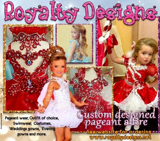 Cyber Holiday Special offers from Royalty Designs  Place your new custom designed dress order and receive a free outfit of choice. (Value  $500) .Www.royaltydesigns.net  Offer good until December 5th.  High or mega glitz dress designs