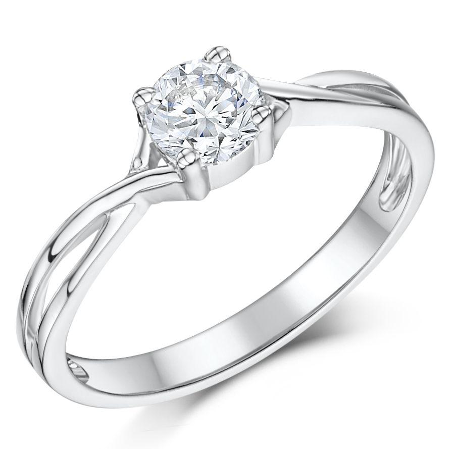 White Gold Half Carat Diamond Solitaire Twist Engagement Ring,  White Gold  Rings Model At Elma Uk Jewellery