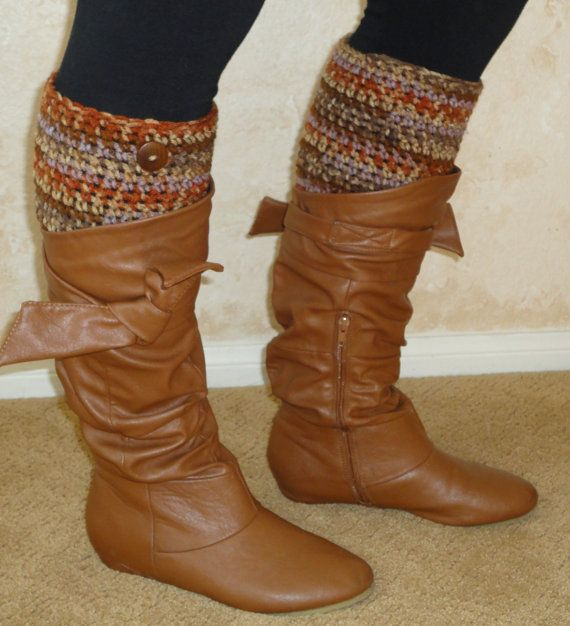 Brown Variegated Boot Cuffs by seeknfindcomforts on Etsy, $10.00