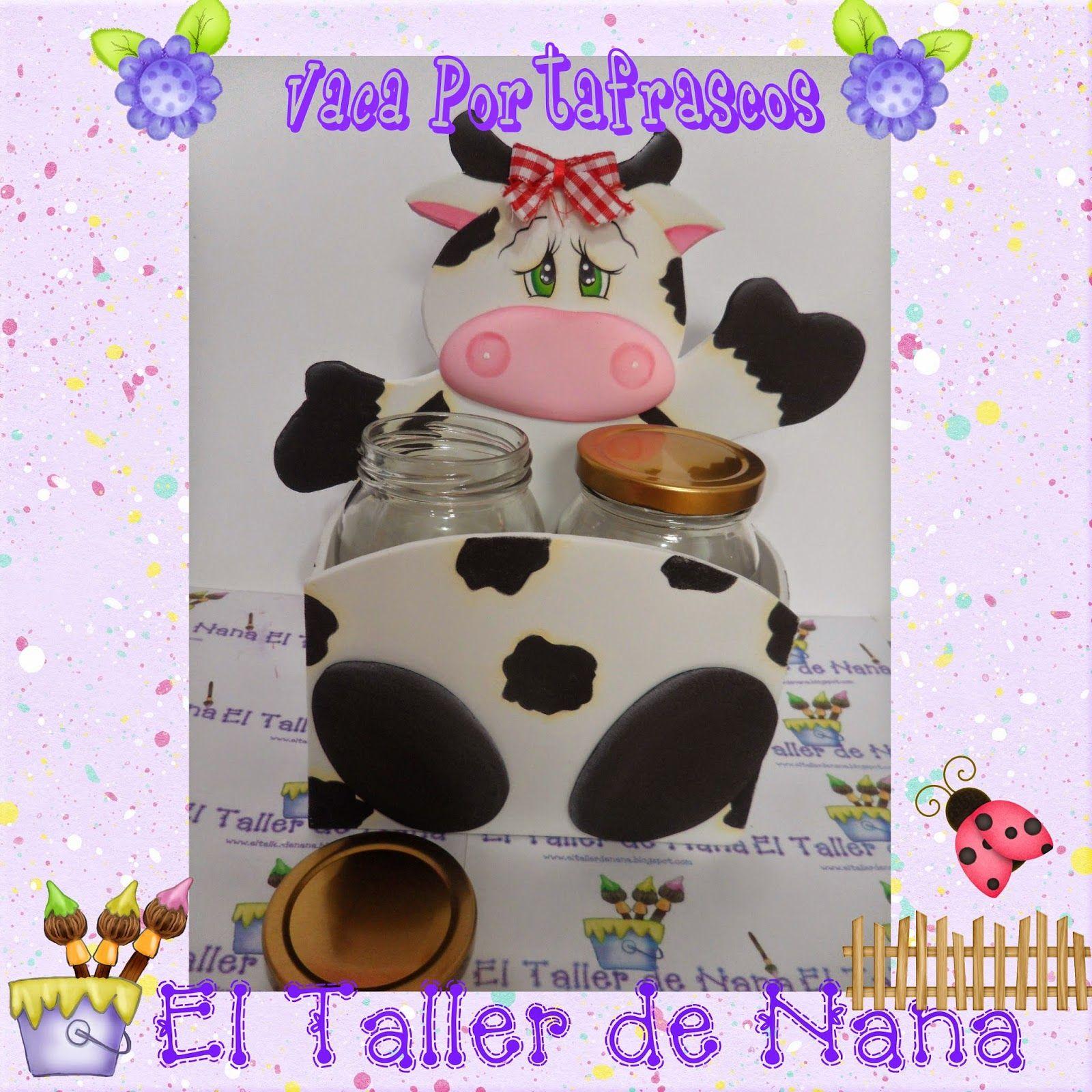 Portafrascos vaca en foami ideas goma eva pinterest - Decoracion de cocina con vacas ...
