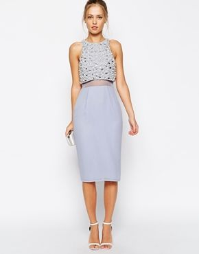 Asos Pearl Embellished Crop Top Midi Dress Topwedding Guest