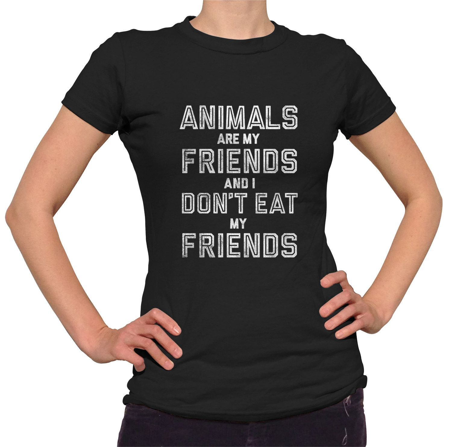 Animals are my Friends /& I don/'t eat my Friends Vegetarian Womens Ladies T-Shirt