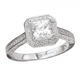 Diamond Semi-Mount Engagement Ring 1 1/2ct tw Princess Cut 18k white gold - Collections