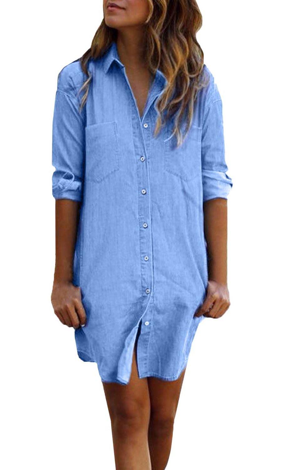 Zanzea Women S Long Sleeve Button Down Denim Shirt Dresses Above Knee Walmart Com Long Sleeve Blouse Dress Denim Shirt Dress Shirt Dress [ 1499 x 900 Pixel ]