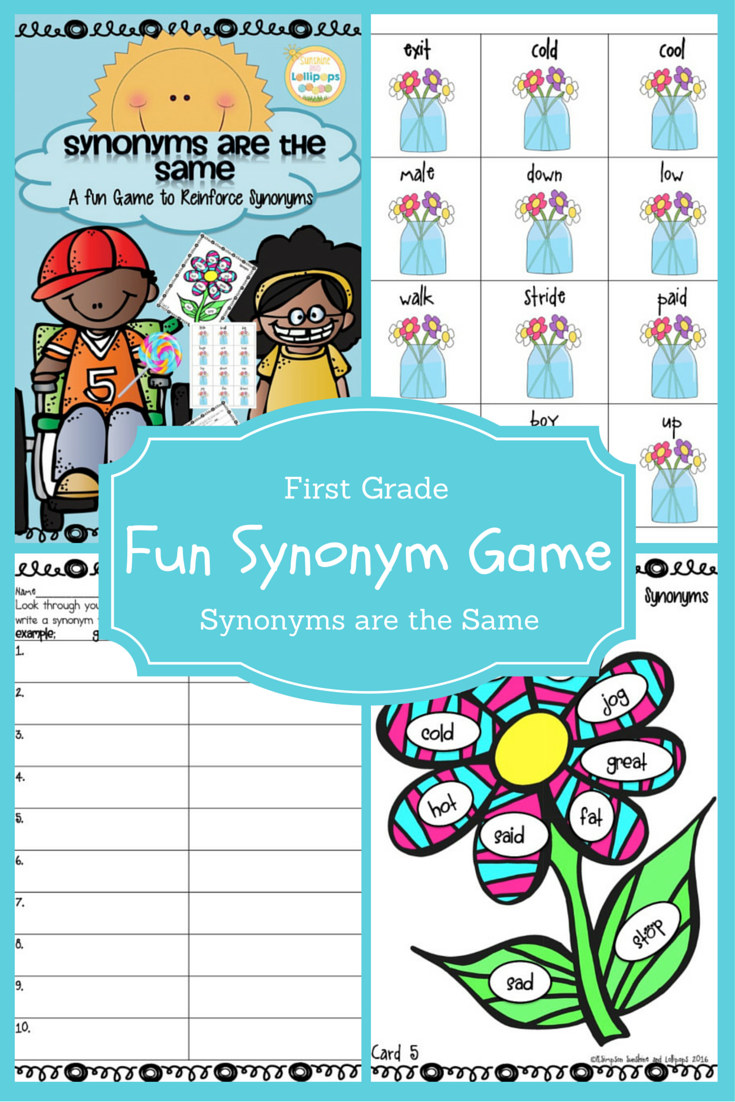 1.50 synonyms firstgrade vocabulary Synonyms are the