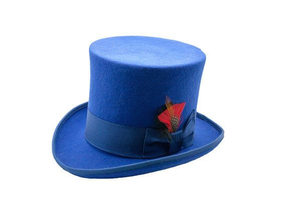 2870d3e1ce1e72 Men's Royal Blue Top Hat, 100-percent wool felt satin ribbon inner satin  lining #softwoolfelt #TopHat