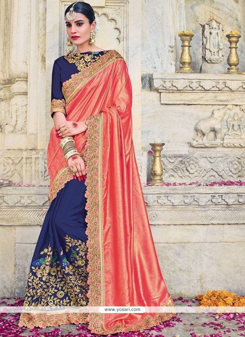 191542a882a8 Art Silk Navy Blue And Pink Designer Half N Half Saree in 2018 ...