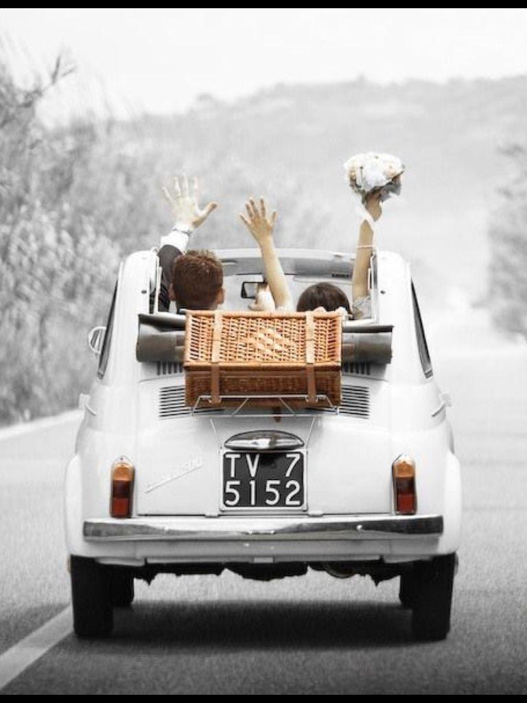 Wedding vehicle decorations  My Style fiat  italiandesign  FIAT   Pinterest  Fiat