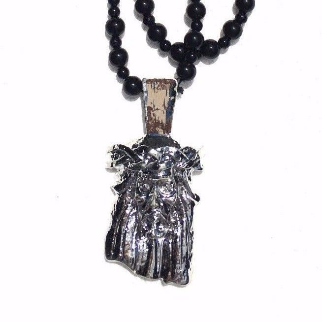 JESUS BLACK Beads SLIVER pendant SuMMer Beach STREET Necklace SKATE Hip Hop  #SUMER #JESUS