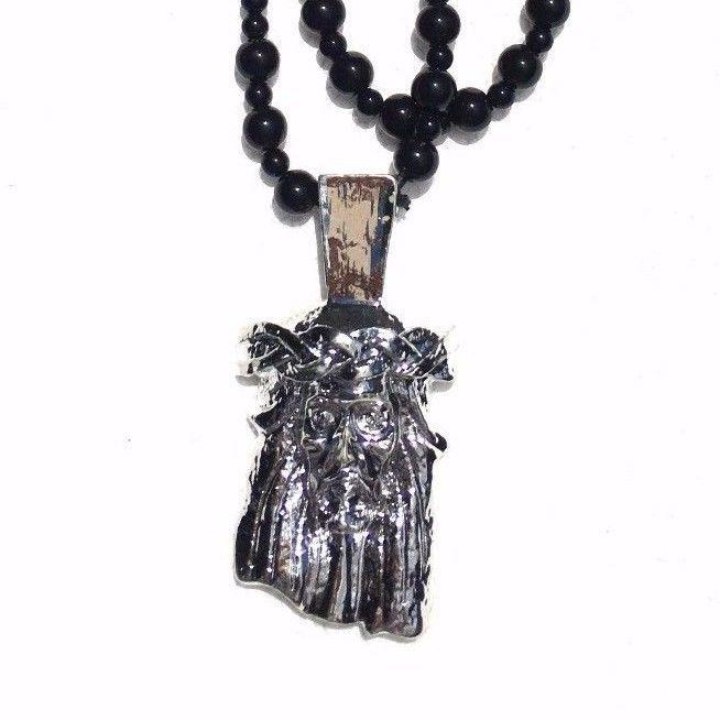 JESUS BLACK Beads SLIVER pendant SuMMer Beach STREET Necklace SKATE Hip Hop  #SUMER #JESUS