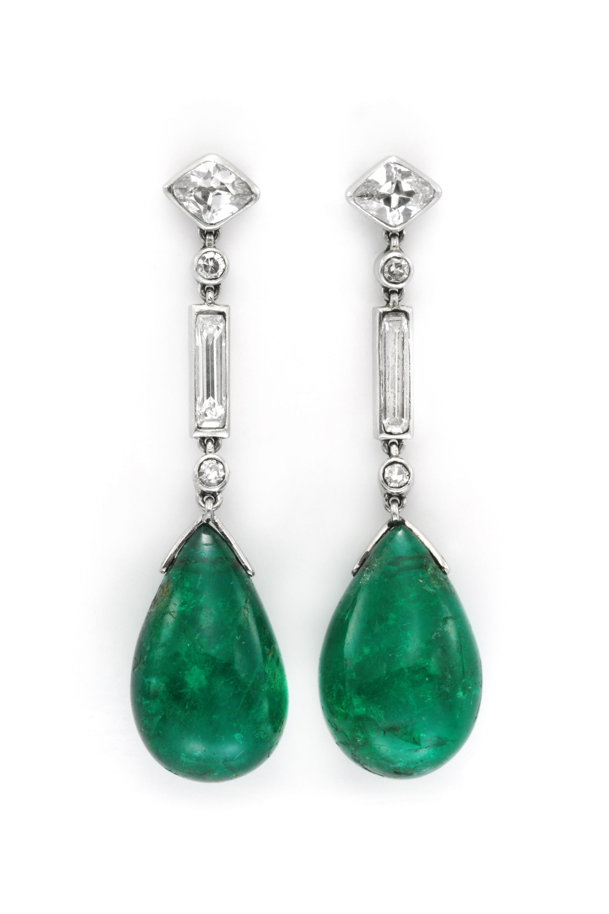 A Pair Of Art Deco Emerald And Diamond Ear Pendants By Cartier Circa 1925 Available At Fd Gallery Inspired