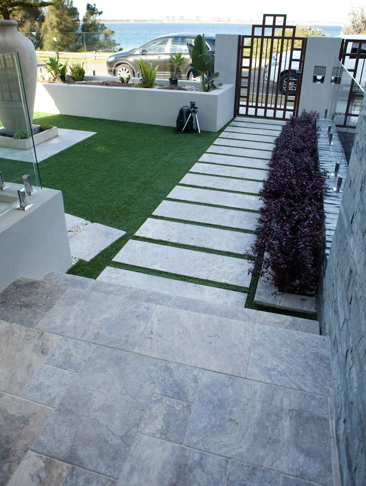 Silver Travertine tiles and pavers at Brighton Le Sands