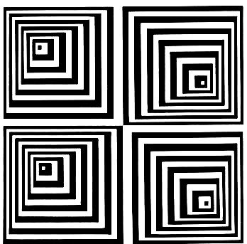 Simple Black And White Pyramid Optical Illusion Patchwork
