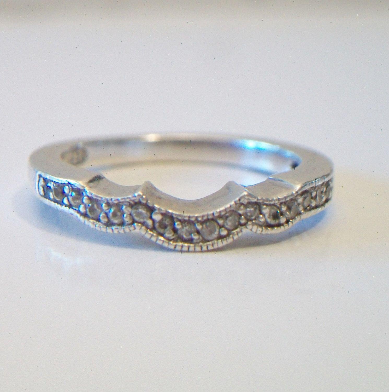 Vintage Sterling Silver Curved Wedding Band Size 7
