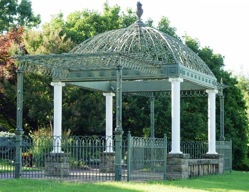 This Stunning Wrought Iron And Cast Iron Victorian Gazebo Was Fabricated And Installed On The Grounds Of The Gilcre Gazebo Victorian Gazebo Pergola Plans Roofs