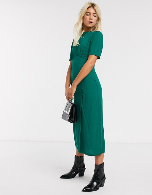 Asos Design Midi Tea Dress With Buttons And Split Detail In Forest Green Asos In 2020 Dresses With Sleeves Short Sleeve Dresses Dresses