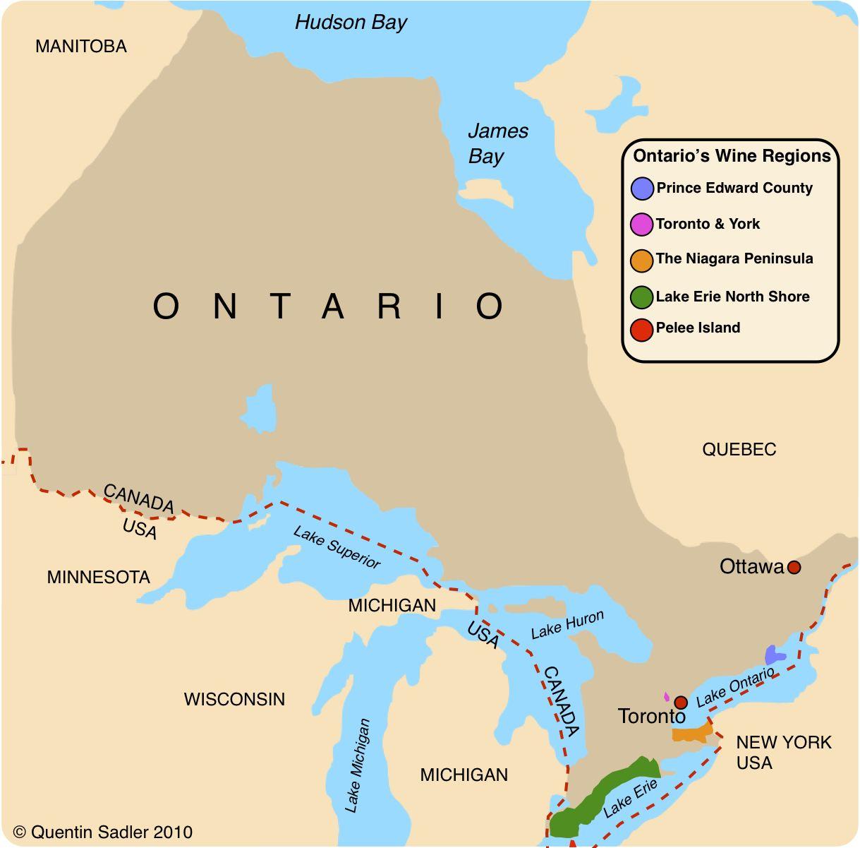 Ontario Peninsula Canada Map Canadian wine – Ontario's Niagara Peninsula | Lake ontario