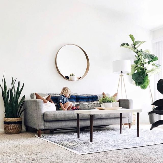 White Living Room Wall Gray Couch Area Rug Potted Plants Rectangular Coffee Table Living Room White Living Room Mirrors Minimalist Living Room