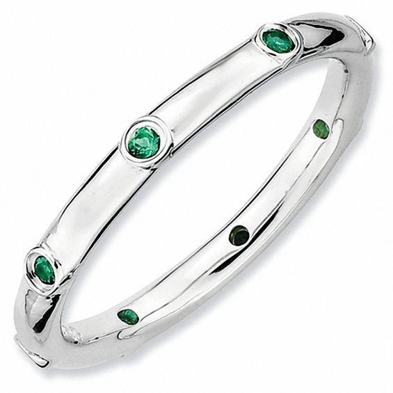 Zales Stackable Expressions Lab-Created Emerald Station Ring in Sterling Silver jeww1wSX