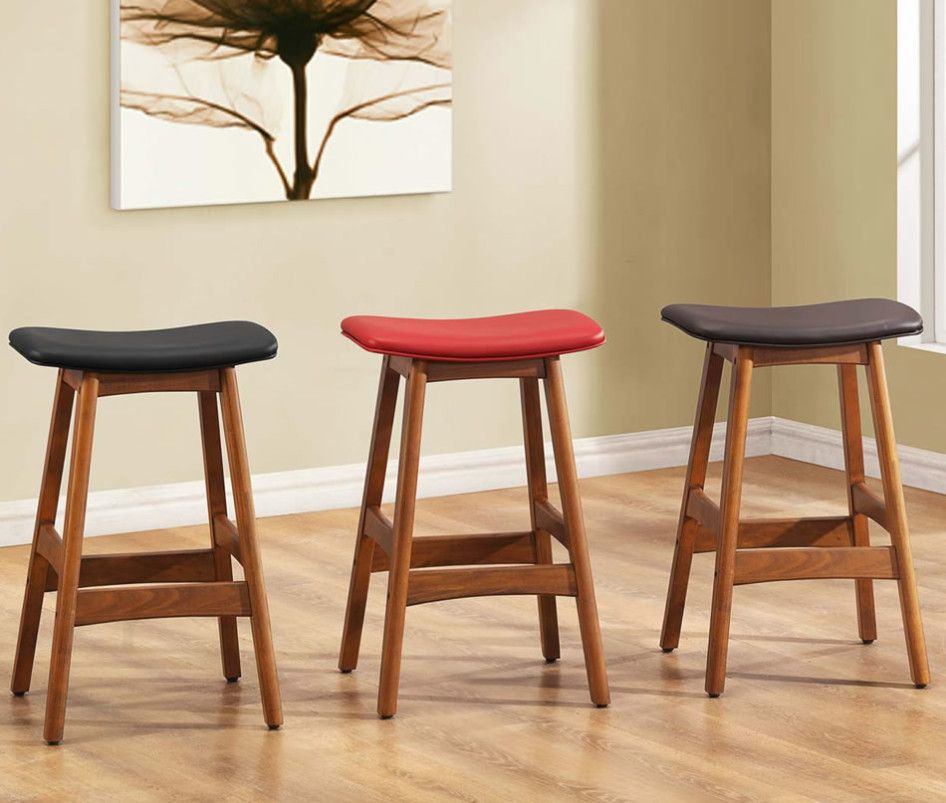 Inimitable Wood Counter Stools Backless With Leather Seat Cover