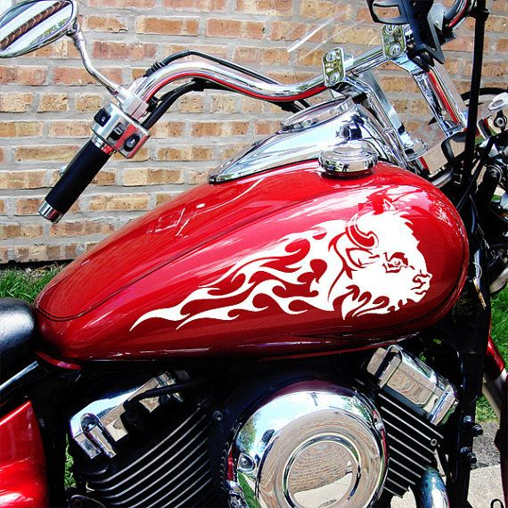 Flaming buffalo head motorcycle tank decals or saddlebag stickers