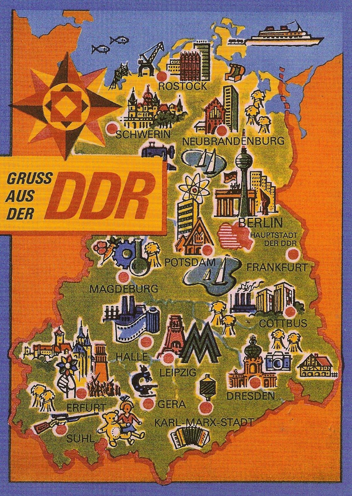 DDR East Germany map … | Germany | Pinte…
