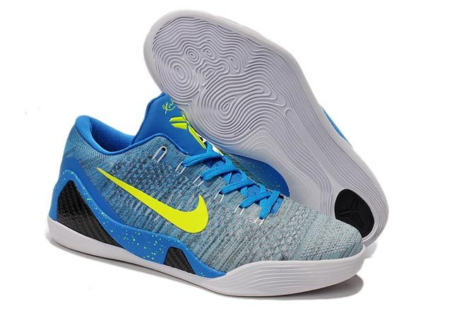buy popular 24269 5430e Men Size Nike Brand Kobe 9 Elite Low-Cut Basketball Sneakers in Blue Grey  Black and Yellow Color