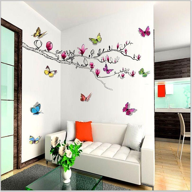 Autocollant Mural 3d Motif Papillon Multi Couleur Fleur