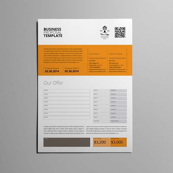 Business Proposal Template Single Page A4 CMYK \ Print Ready - graphic design proposal example