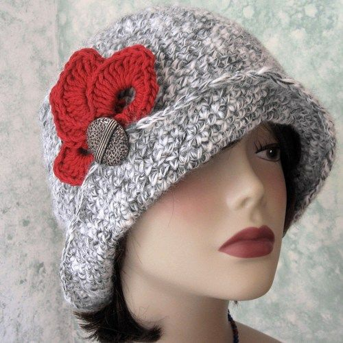 Crochet Hat Pattern Womens Flapper Style With Trim Chemo Hat Pattern ... 39325b1ee52