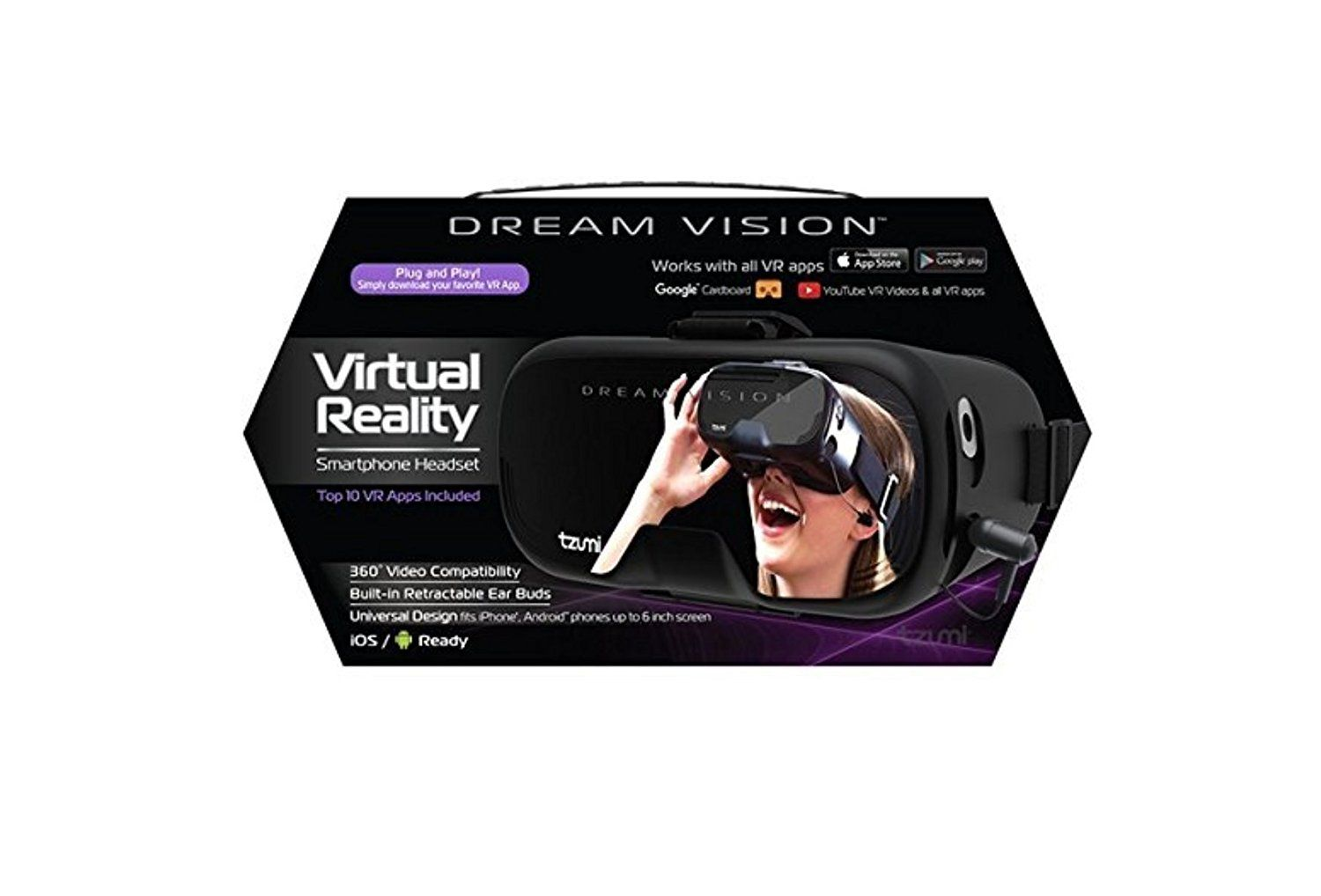 1d0e23112ad Dream Vision Virtual Reality Smartphone Headset For iPhone And Android  Phones Up To Six Inches. Top Ten VR Apps Included     For more information