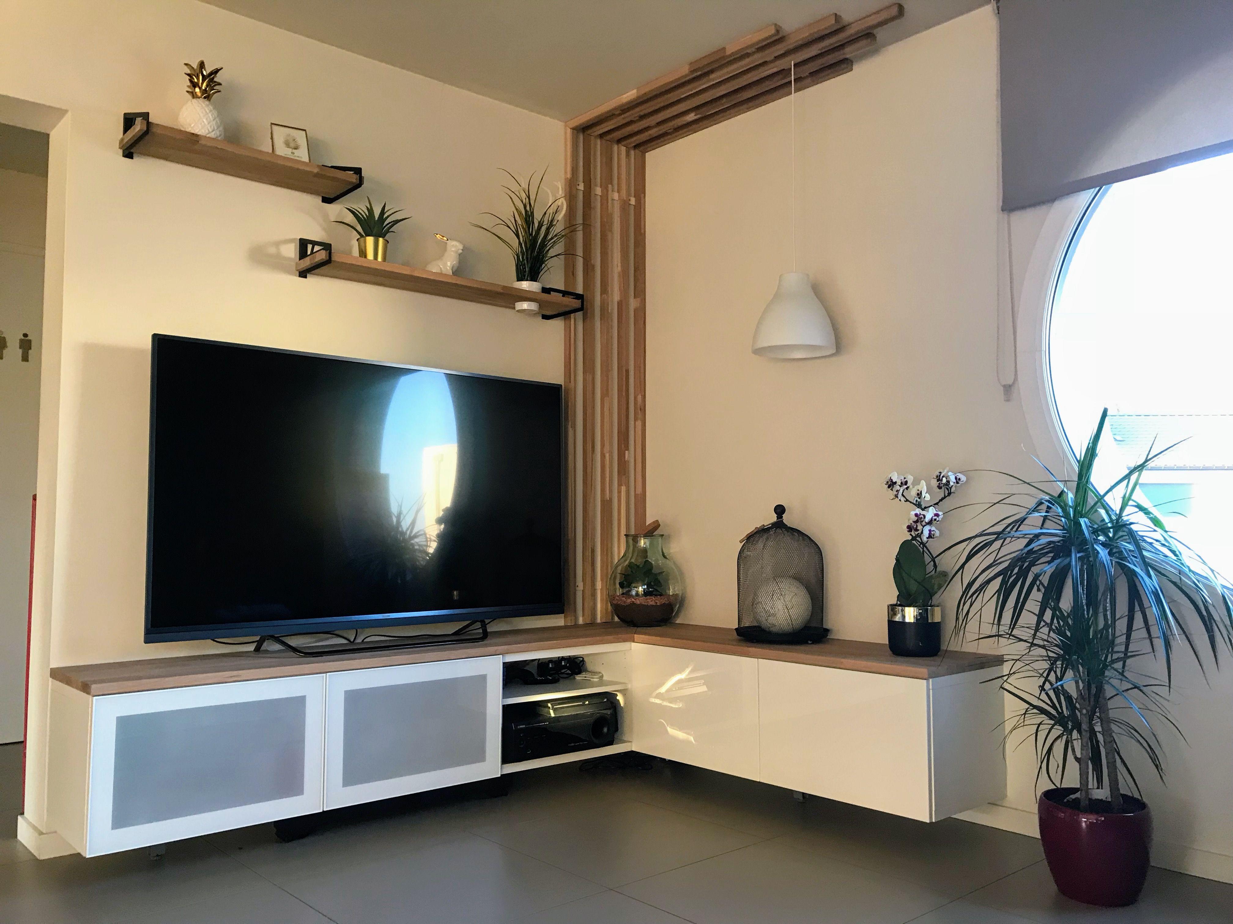 Meuble Tv Ikea Hack Wood Angle Tasseau Ikea Etagere Tv Meuble Deco Salon Wood Design Meuble Salle A Manger Salle A Manger Et Salon Meuble Tv Angle