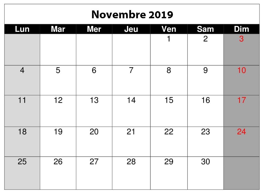 Calendrier A Imprimer Novembre 2019.Calendrier Novembre 2019 A Imprimer Blanc Periodic Table