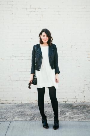 Black booties / tights / leather jacket + white dress by reva