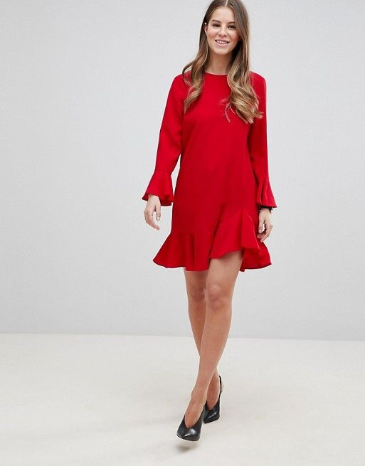 Discount Codes Shopping Online DESIGN fluted sleeve ruffle hem mini dress - Red Asos Clean And Classic Inexpensive Sale Online Recommend Online GbavupBo