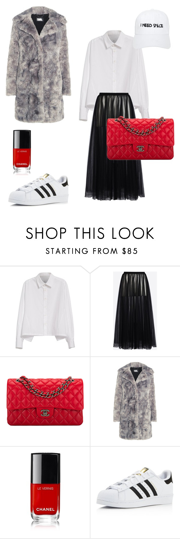 """""""I need space"""" by anacapao ❤ liked on Polyvore featuring Y's by Yohji Yamamoto, Valentino, Chanel, Karl Lagerfeld, adidas and Nasaseasons"""