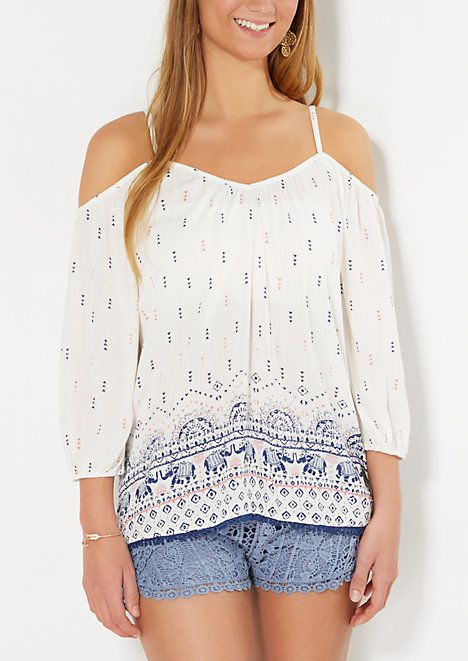 246d3b26fd5e1 Ivory Folklore Cold Shoulder Top